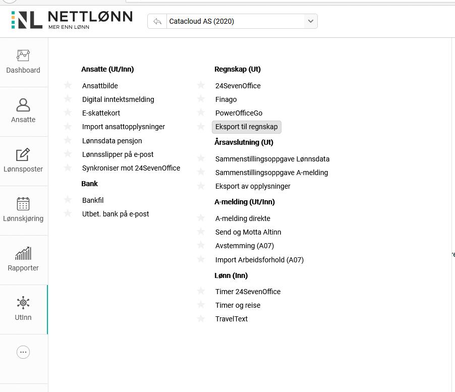 Skjermbilde av meny for eksport i Nettlønn